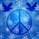 Peace Dove Over Earth Globe and Snowflakes