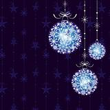 Christmas ornament ball on seamless pattern background