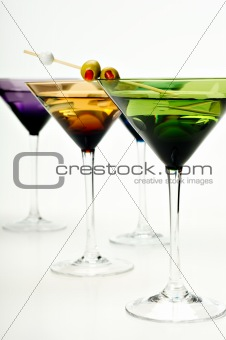 Martinis in colorful glasses