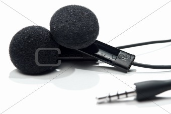 Black earphones.