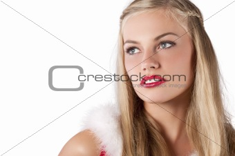 Christmas portrait of a young girl dressed in red