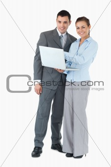Business partner with notebook against a white background