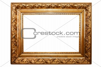 old painting frame, golden, isolated on white (No#2)