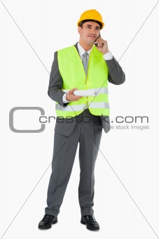 Architect listening to caller