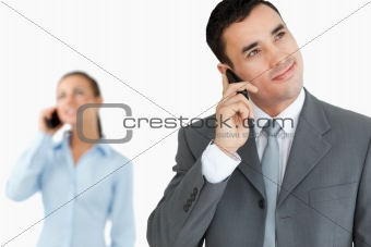 Business partners on the cellphone
