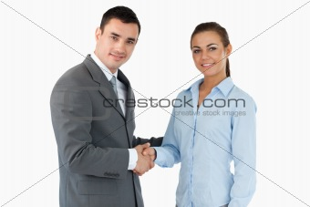 Smiling business partners closing a deal