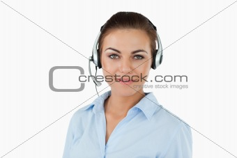 Call center agent with headset on