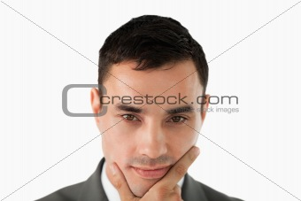 Close up of businessman thinking