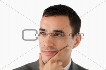Close up of businessman having a vision