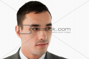 Close up of businessman looking to his left