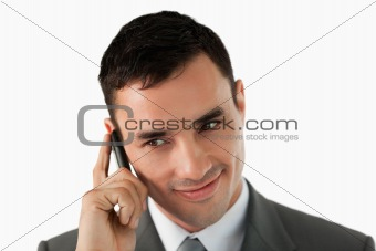 Close up of businessman on his cellphone