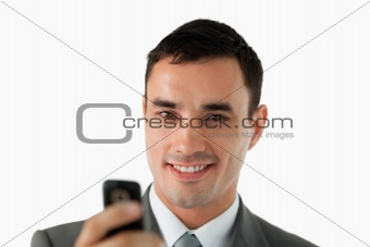 Close up of businessman writing text message