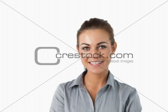 Close up of smiling young businesswoman