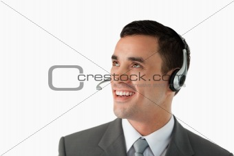 Close up of young male professional with headset on