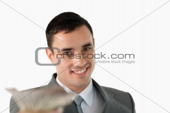 Close up of businessman with banknotes