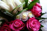 Two rings and wedding bouquet