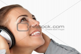 Close up of businesswoman enjoying music