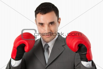Close up of businessman prepared to fight