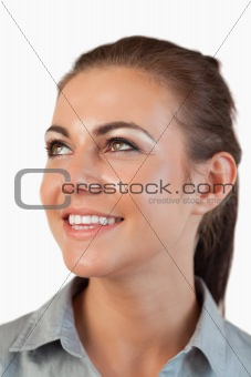 Portrait of businesswoman looking diagonally upwards