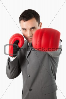 Close up of boxing businessman