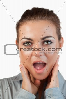 Close up of surprised businesswoman