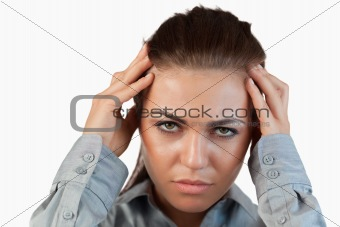 Close up of businesswoman having headache