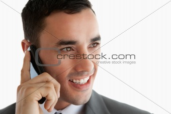 Close up of businessman on the phone looking to the side