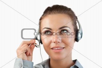 Close up of female call center agent listening closely