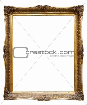 Old golden retro frame, isolated on white (No#8)
