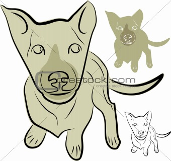 A puppy with a dedicated view. Pet, family pet, vector illustration