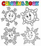 Coloring book cartoon snowflakes 1