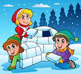 Winter scene with kids 1