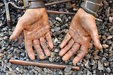Detail of dirty hands - blacksmith