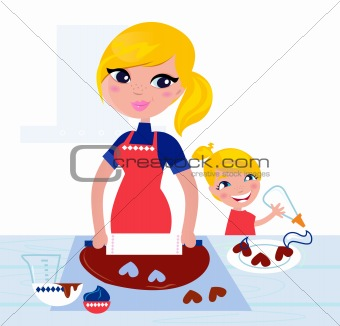 Cute Child helping her Mother with christmas baking