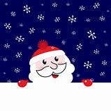 Santa blank banner, night snowing winter background - vector