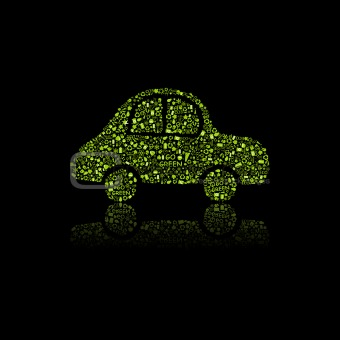 Green Car Icon. Pollution Concept.