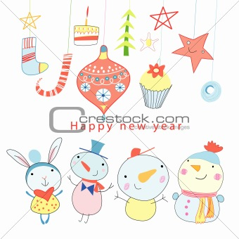 Christmas card with a snowman and toys
