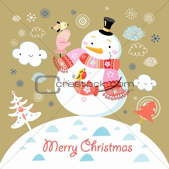 greeting card with a cheerful snowman