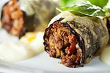 closeup of stuffed cabbage rolls on a plate