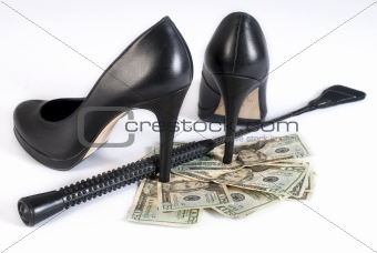 Black Leather Flogging Whip, high heels shoes and money