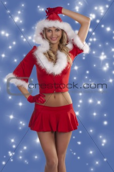 red sexy christmas lady smiling