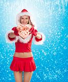 santa claus girl showing gift box
