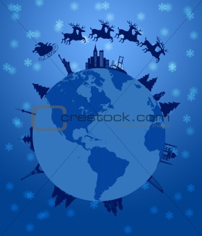 Santa Sleigh and Reindeer Flying Around the World