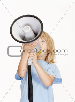 boy with long blond hair playing with a megaphone