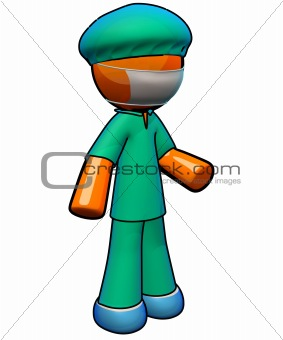 3d  Orange Man Doctor Surgeon Wearing Scrubs