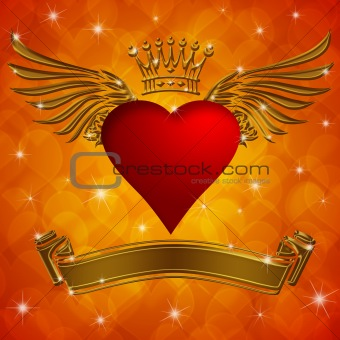 Valentine's Day Heart with Crown Wings and Banner