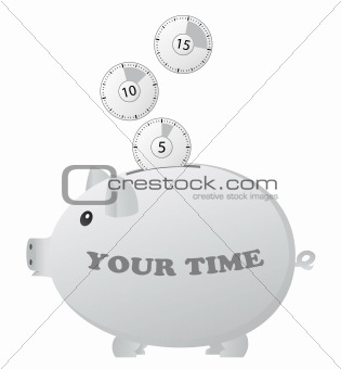 Clocks falling into the piggy bank