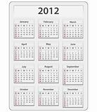 Vector calendar for 2012 year