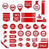 Vector price tags, labels, stickers, arrows and ribbons