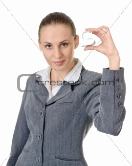 business woman holding a currency